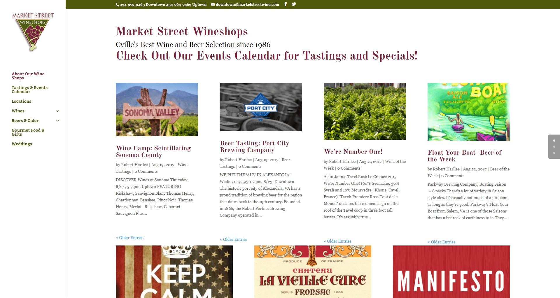 Market Street Wineshops Website